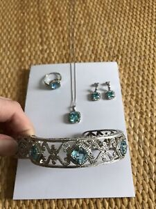 4 Piece Blue Topaz with Diamond Accent Jewelry Set