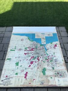 Vintage Roll-Up Map of Rochester New York - Wall Art