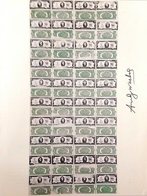 ANDY WARHOL HAND SIGNED SIGNATURE * TWO DOLLAR BILLS *  PRINT  W/ C.O.A.