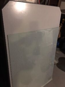 38 x 61 gray-blue countertop and 36 x 48 table top glass