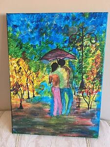 Canvas picture with water colour