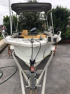 4.5 quintrex lazeabout 50hp evinrude electric start and trim