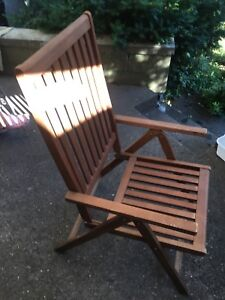 2 Natural wood folding patio chairs