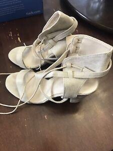 Women's White/Beige Sandals - Size 9