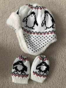 Baby winter trapper hat and mitts