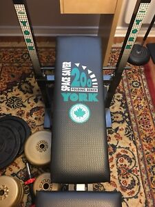 York 200 folding bench with power bar + weights