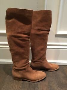 Michael MK kors suede boots flats 8.5 brown tan knee booties