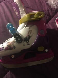 Pink and white frozen  ski boots 8-11 years old