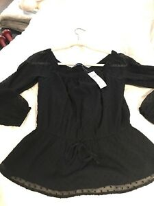 Abercrombie & Fitch sheer black off shoulder blouse top S tags