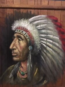 Oil Painting of Native Chief