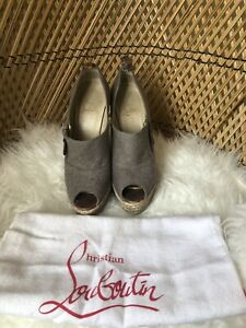 CHRISTIAN LOUBOUTIN AUTHENTIC grey wool effect wedge size 36