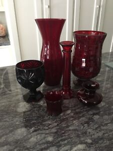 Beautiful Cranberry Coloured Glassware