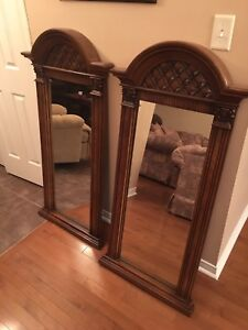 2 Beautiful Wooden Frame Mirrors