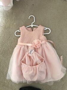 2 pink toddler and infant dresses size 4 and 12-18 months.