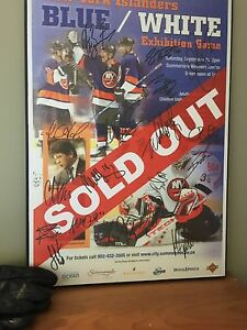 New York Islanders autographed mounted poster