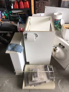 Washroom cabinet with sink and mirror