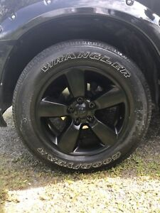 Black 20 inch wheels and tires set