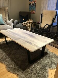 Walnut coffee table with white wash finish