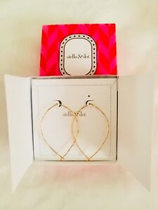 NEW Stella & Dot gold hammered hoops