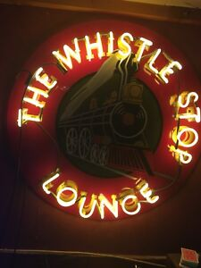 Large Neon Train Whistle Shop Lounge sign