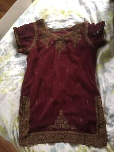 Traditional Indian Outfit Maroon and Gold size small