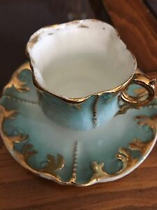 Antique Espresso Fine China Coffee Cup and Saucer