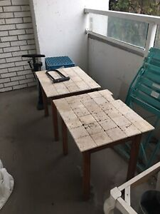 2 free tile and wood tables (for your patio?)