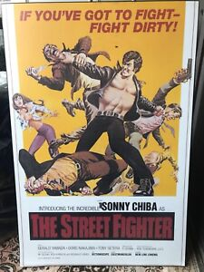 """Rare Sonny Cheeba """"The Street Fighter"""" movie poster mounted"""