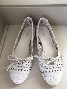 Leather perforated summer ballerinas, size US 8, EU 39