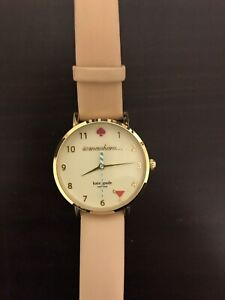 Kate Spade watch - gold and white face with nude leather strap