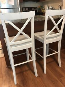 4 Chalk paint high top wooden chairs