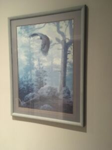 Large eagle and nature painting