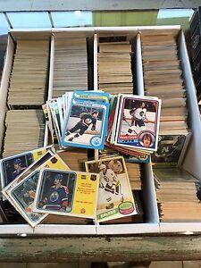 Box full of old 1970's and 80's hockey cards