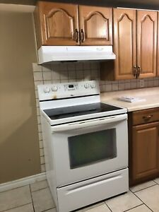 White electric cooking range with hood