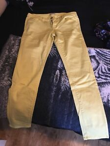 yellow stretch jeans