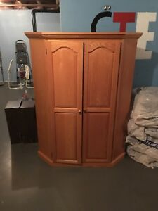 Solid Oak Wood Cabinet - Corner Unit