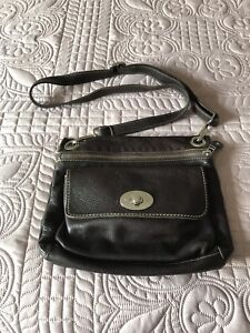 ROOTS brown leather cross body purse