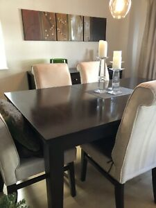Solid Wood Dining Room Table and Six Chairs