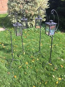 Wrought iron lanterns with stands