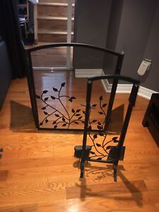 Fireplace Screen and tools with rack insert
