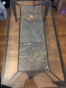 Beautiful Glass Table with Tile Centrepiece and Storage Shelf
