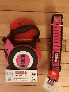 Kong collar and retractable leash combo- size S/Med