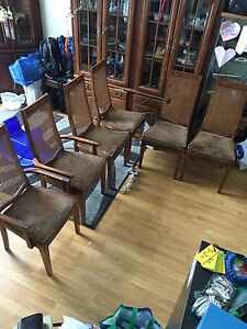 Set of 6 matching, Canadian made solid wood dinning chairs
