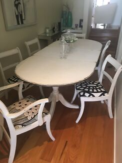 Hamptons style dining table 6 chairs