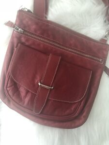 Roots leather purse red