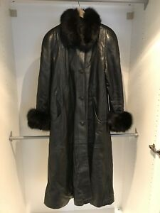 Black Leather Coat with Mink Trim