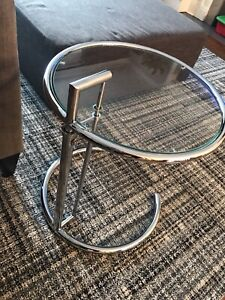 Modern Glass / Chrome / Glass Top Round Side Table