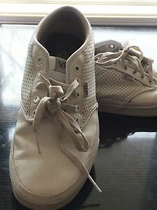 White leather vans low top sneakers