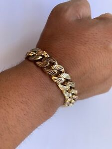 Solid 9ct gold 100g diamond cut Curb bracelet.