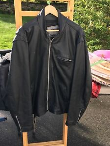 Motorcycle leather jacket, rain gear and helmet